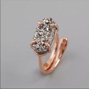 🔴REDUCED➖Rose Gold Platinum Agate Druzy Ring
